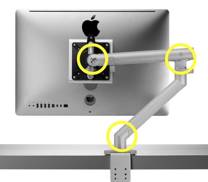 Gute Monitorarme sind an drei Punkten frei beweglich und lässt sich zudem an der Aufhängung des Monitors nach oben und unten neigen.